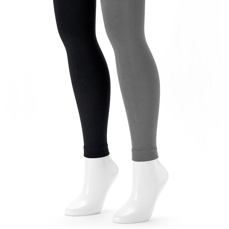 MUK LUKS 2-pk. Fleece-Lined Footless Tights