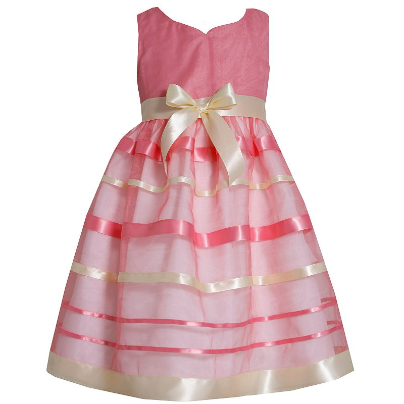 Bonnie Jean Striped Ribbon Dress - Toddler Girl