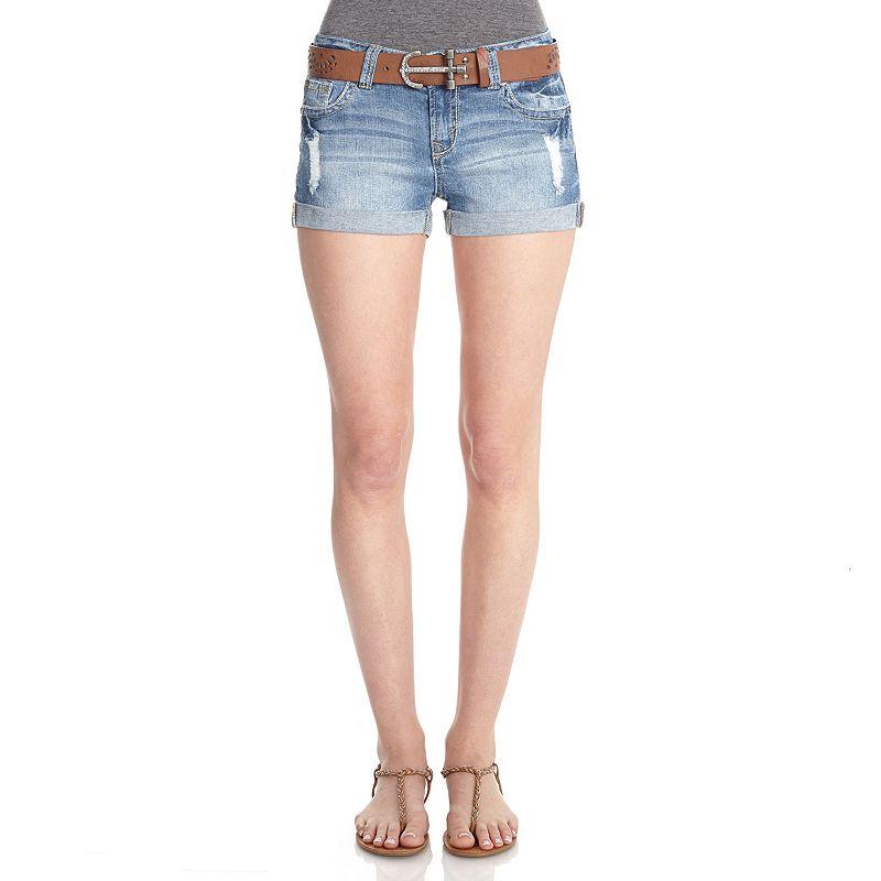 Wallflower Frayed Denim Shorts - Juniors