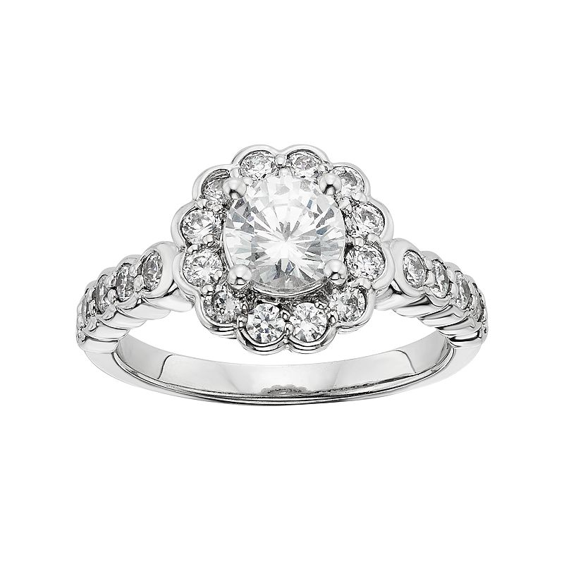 Diamonore Simulated Diamond Flower Engagment Ring in Sterling Silver (1 3/4 Carat T.W.)