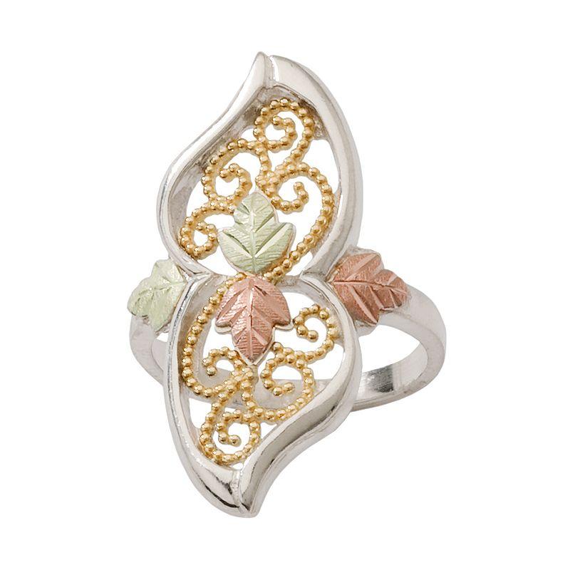 Black Hills Gold Four Tone Leaf Filigree Ring in Sterling Silver