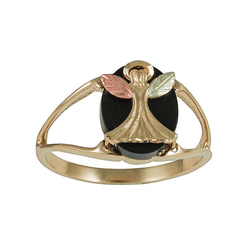 Black Hills Gold Tri-Tone Onyx Angel Ring