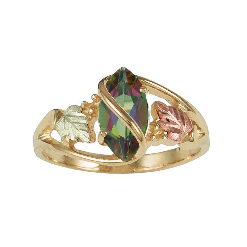 Black Hills Gold Tri-Tone Mystic Fire Topaz Leaf Wrap Ring