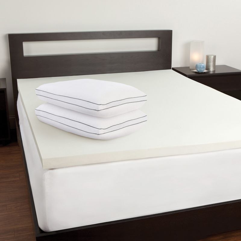 Sealy 2 in Memory Foam Mattress Topper and Pillow Set