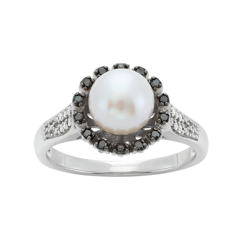 Freshwater Cultured Pearl and 1/8 Carat T.W. Black and White Diamond Sterling Silver Flower Ring