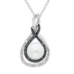 Freshwater Cultured Pearl, & 1/10 Carat T.W. Black & White Diamond Sterling Silver Infinity Pendant Necklace