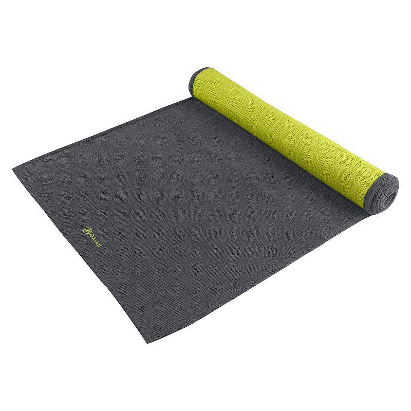 Gaiam Gray Citron Grippy Yoga Mat Towel