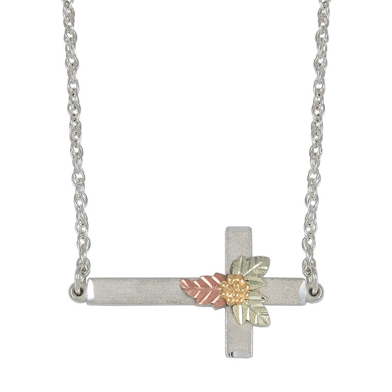 Black Hills Gold Four Tone Sideways Cross Necklace in Sterling Silver