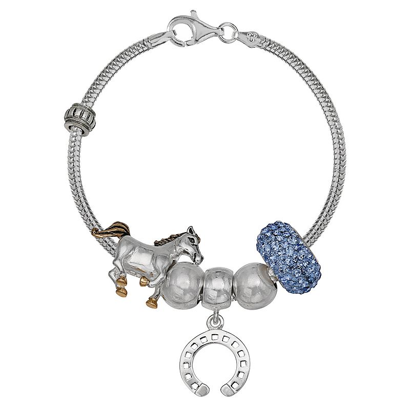 Individuality Beads Crystal Sterling Silver Snake Chain Bracelet and Horse Charm and Bead Set