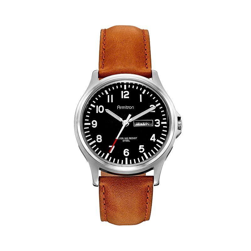 Armitron Men's Leather Watch - 20/4996BKSVTN