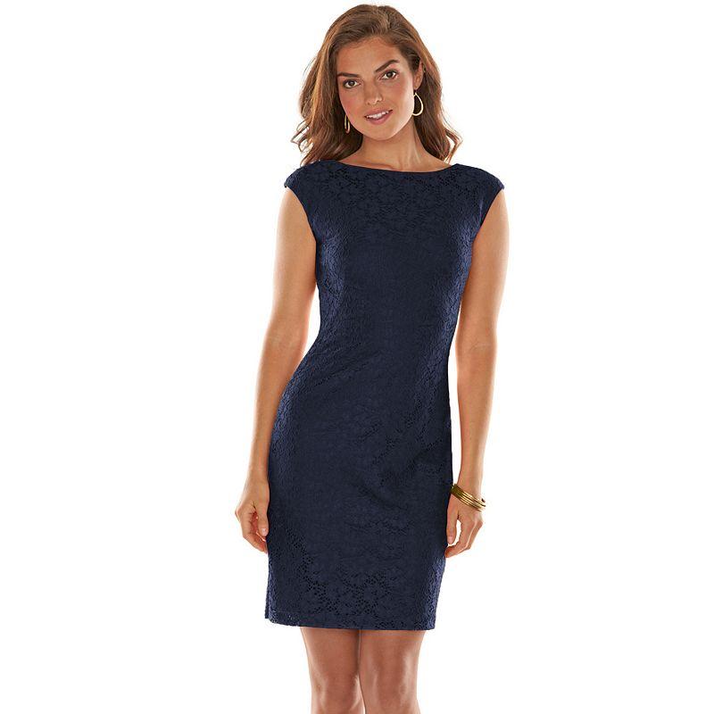 Chaps Lace Sheath Dress - Women's