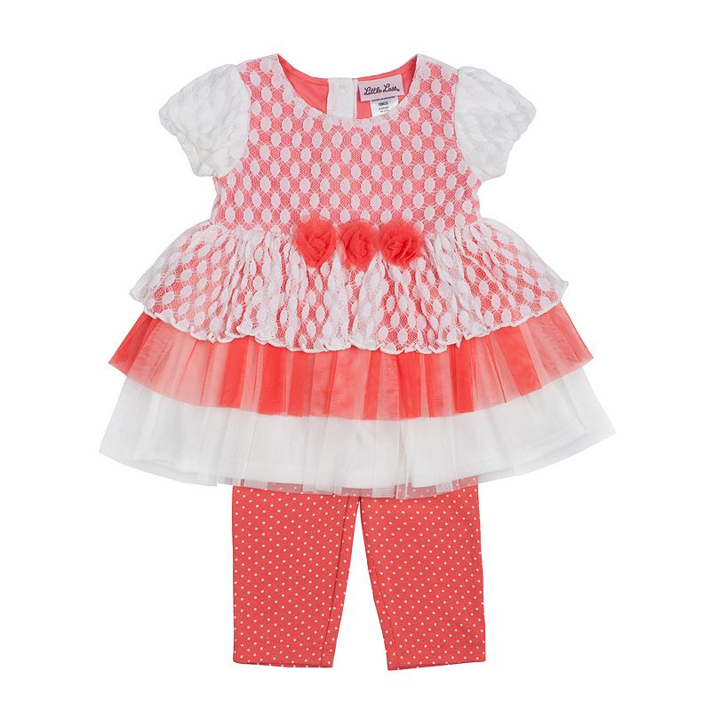 Little Lass Dot Tiered Dress & Leggings Set - Toddler Girl