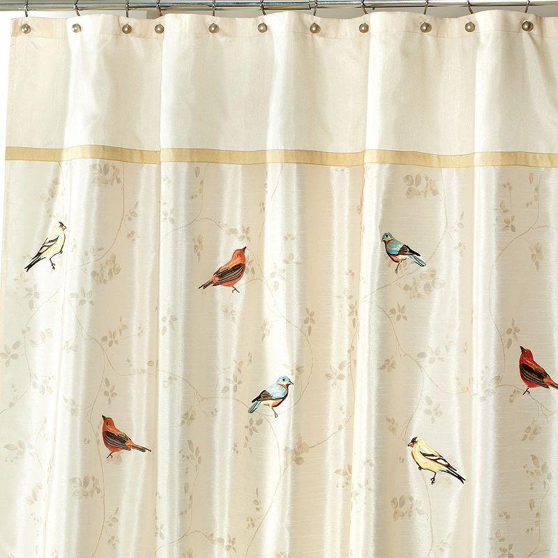 Avanti Gilded Birds Fabric Shower Curtain