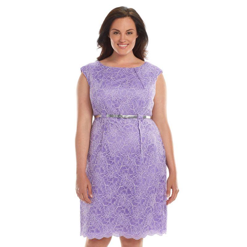 Plus Size Dana Buchman Belted Lace Dress, Women's, Size: 18W T/L, Purple