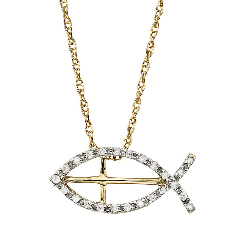 Diamond Petites 1/10 Carat T.W. Diamond 10k Gold Ichthys Fish Pendant Necklace