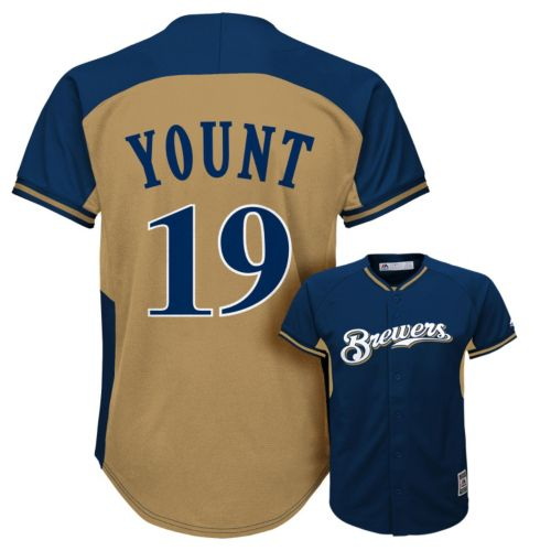 Boys 8-20 Majestic Milwaukee Brewers Robin Yount Cooperstown Collection Fashion Batting Practice MLB Jersey