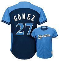 Boys 8-20 Majestic Milwaukee Brewers Carlos Gomez Fashion Batting Practice MLB Jersey
