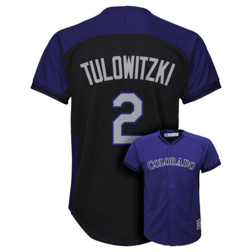 Boys 8-20 Majestic Colorado Rockies Troy Tulowitzki Fashion Batting Practice MLB Jersey