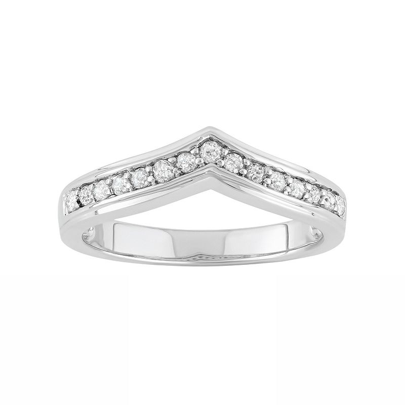 1/4 Carat T.W. Diamond Sterling Silver V Ring