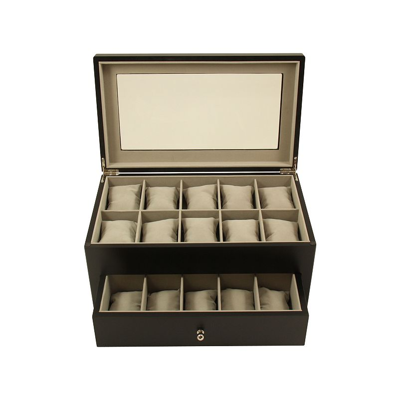 Bey-Berk Wood 20-Slot Watch Storage Box - Men