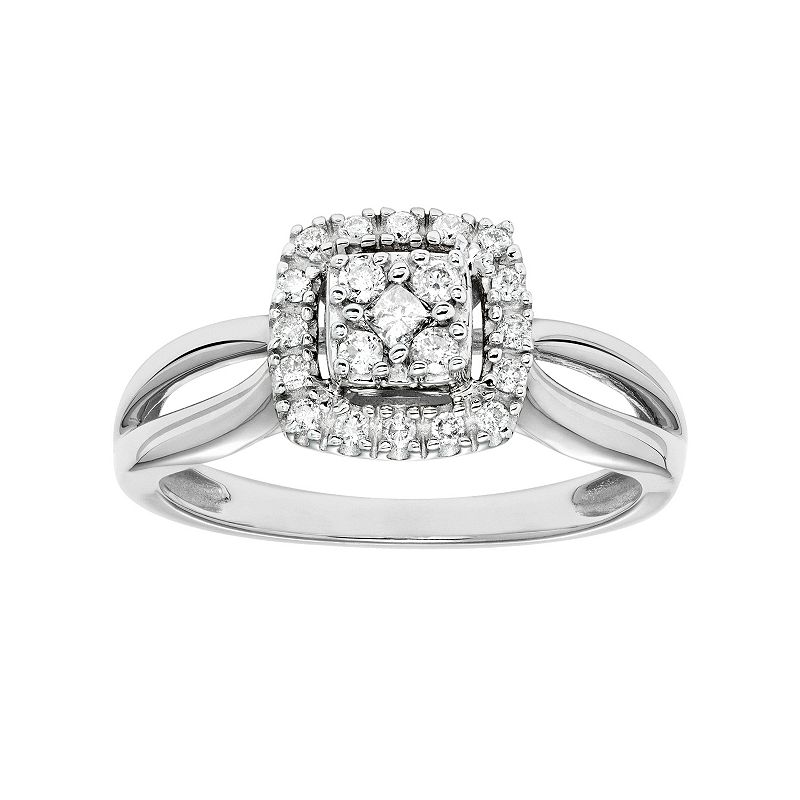Cherish Always Diamond Square Halo Engagement Ring in 10k Gold (1/4 Carat T.W.)