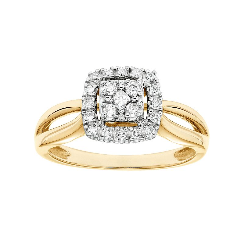 Cherish Always Diamond Square Halo Engagement Ring in 10k Gold (1/4 Carat T.W.)