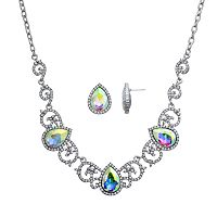 Crystal Allure Teardrop Necklace & Stud Earring Set