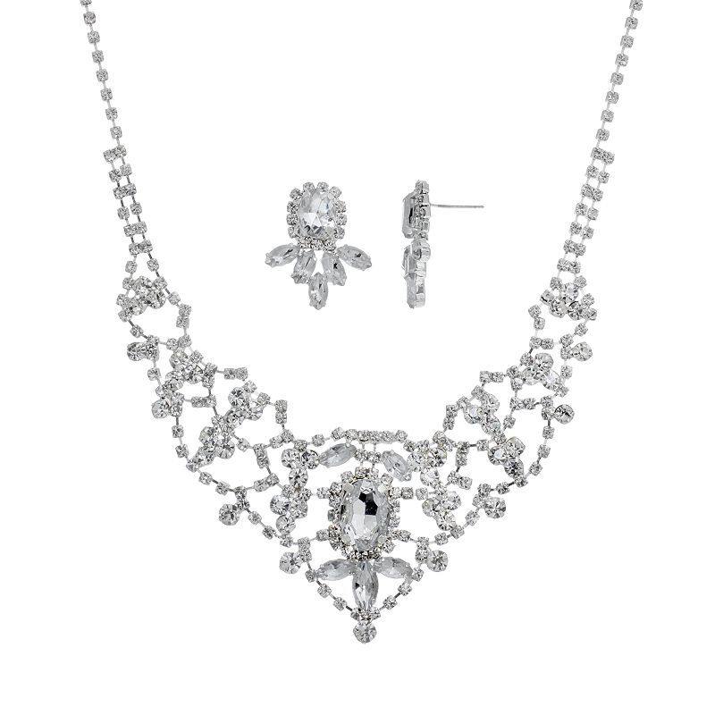 Crystal Allure Bib Necklace and Earring Set