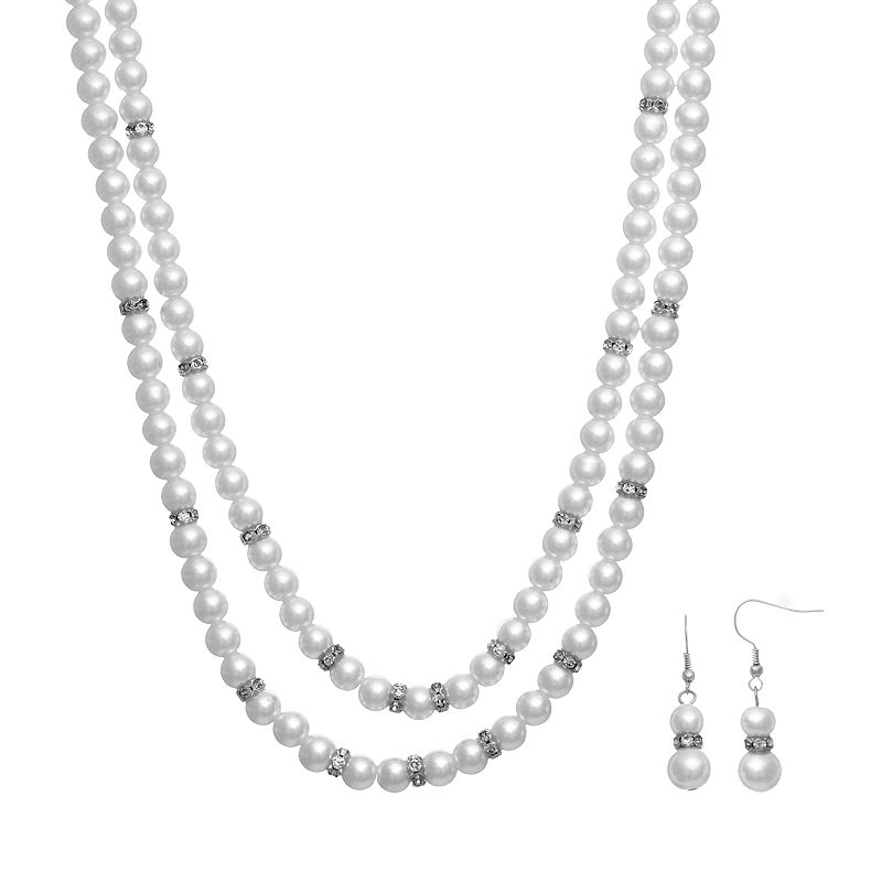 Crystal Allure Multistrand Necklace and Drop Earring Set
