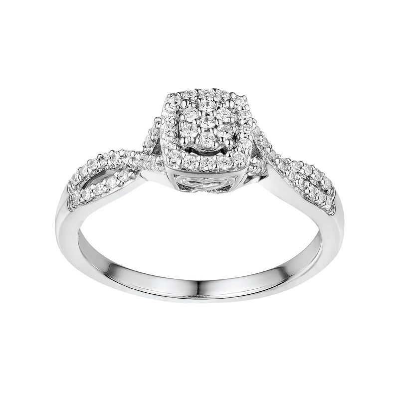 Two Hearts Forever One 1/4 Carat T.W. Diamond Sterling Silver Halo Ring