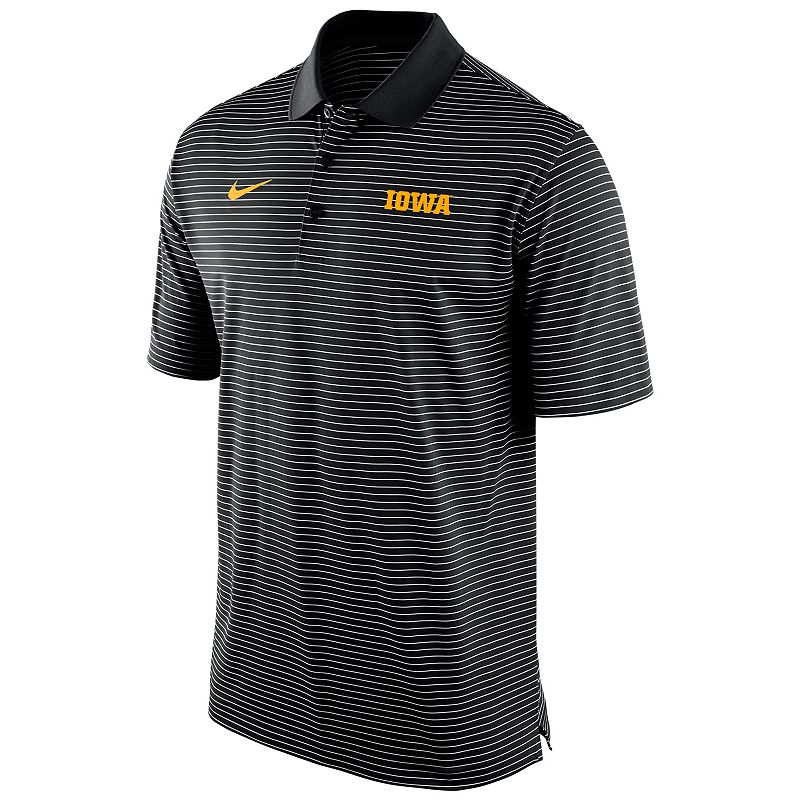 Men's Nike Iowa Hawkeyes Striped Stadium Dri-FIT Performance Polo