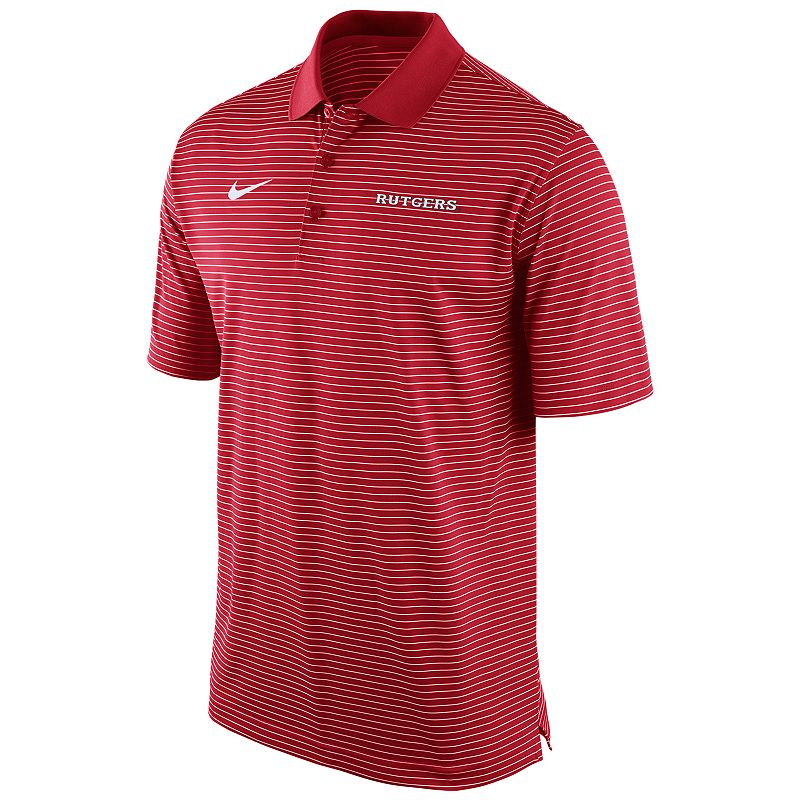 Men's Nike Rutgers Scarlet Knights Striped Stadium Dri-FIT Performance Polo