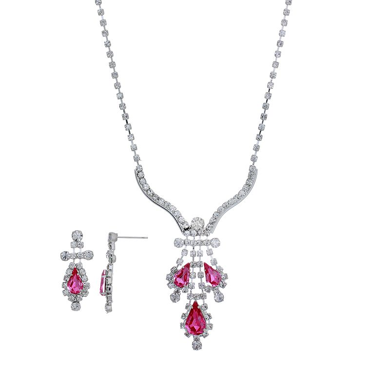 Crystal Allure Teardrop Necklace and Drop Earring Set