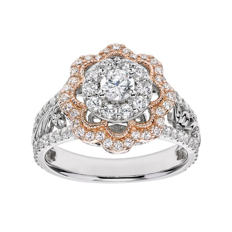 Simply Vera Vera Wang Diamond Flower Engagement Ring in 14k White Gold (1 Carat T.W.)