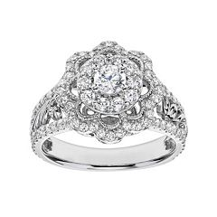 Simply Vera Vera Wang Diamond Flower Engagement Ring in 14k White Gold (1 Carat T.W.) by