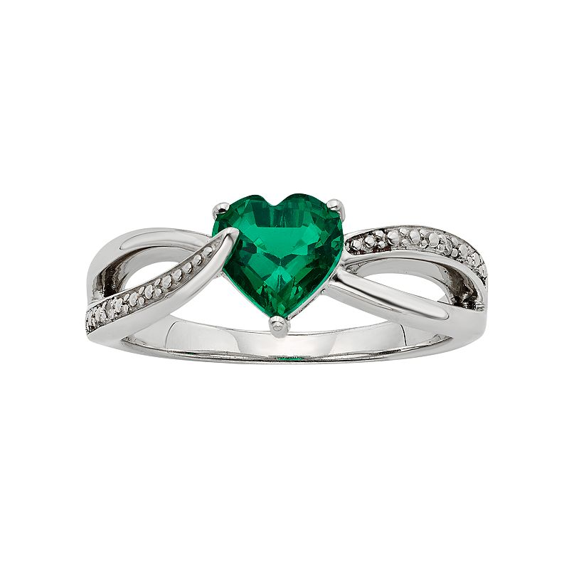 Lab-Created Emerald and Diamond Accent Sterling Silver Heart Bypass Ring