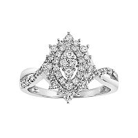Cherish Always Certified Diamond Double Halo Marquise Engagement Ring in 10k White Gold (1/2 Carat T.W.)