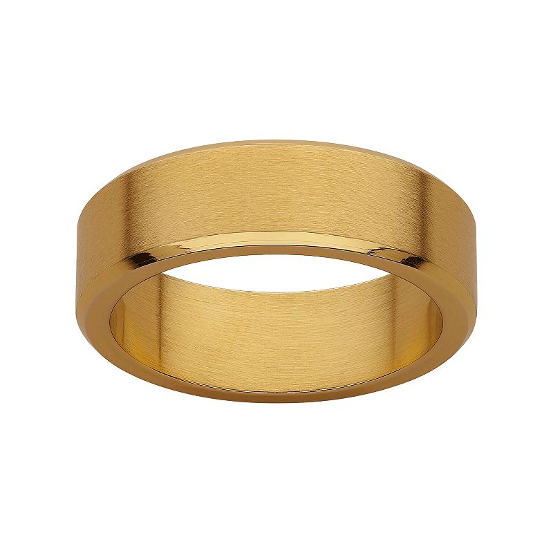 Yellow Ion-Plated Stainless Steel Satin Finish Wedding Band - Men