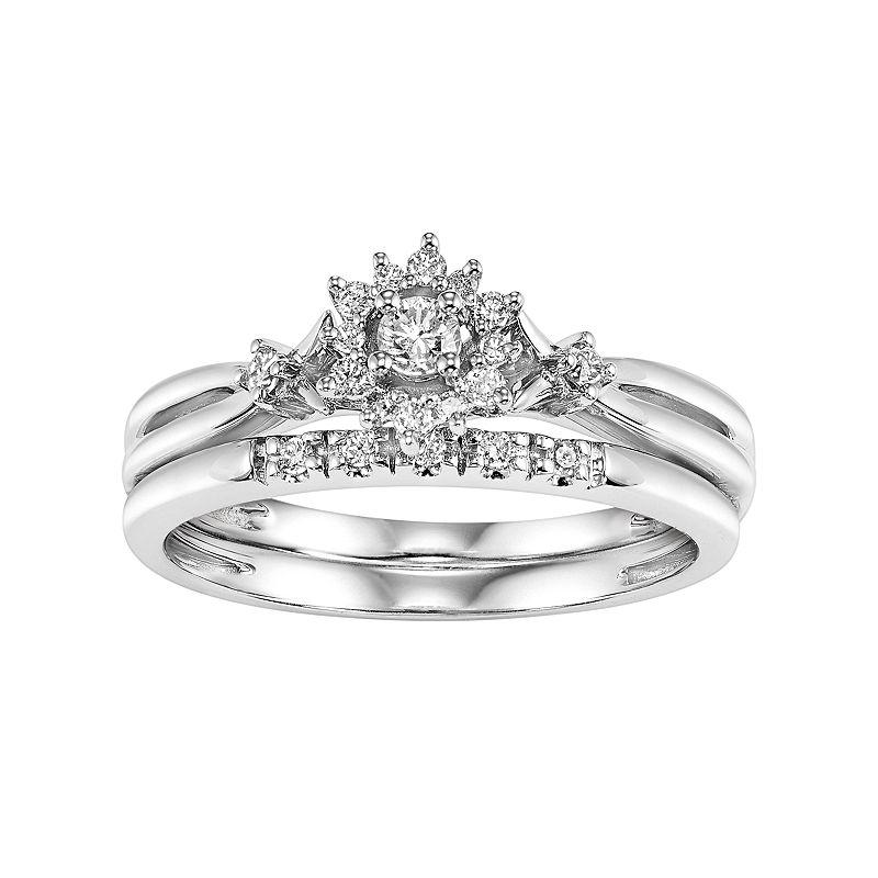 Cherish Always Certified Diamond Starburst Engagement Ring Set in 10k White Gold (1/4 Carat T.W.)