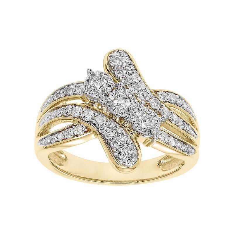 Cherish Always 1/2 Carat T.W. Certified Diamond 10k Gold 3-Stone Bypass Anniversary Ring