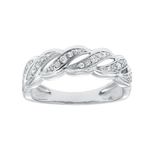 Cherish Always 1/5 Carat T.W. Certified Diamond 10k White Gold Scalloped Anniversary Ring