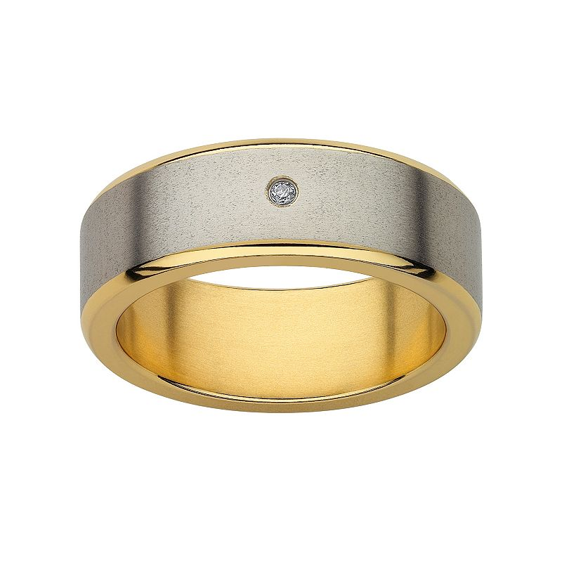 Diamond Accent Titanium and Yellow Ion-Plated Titanium Wedding Band - Men