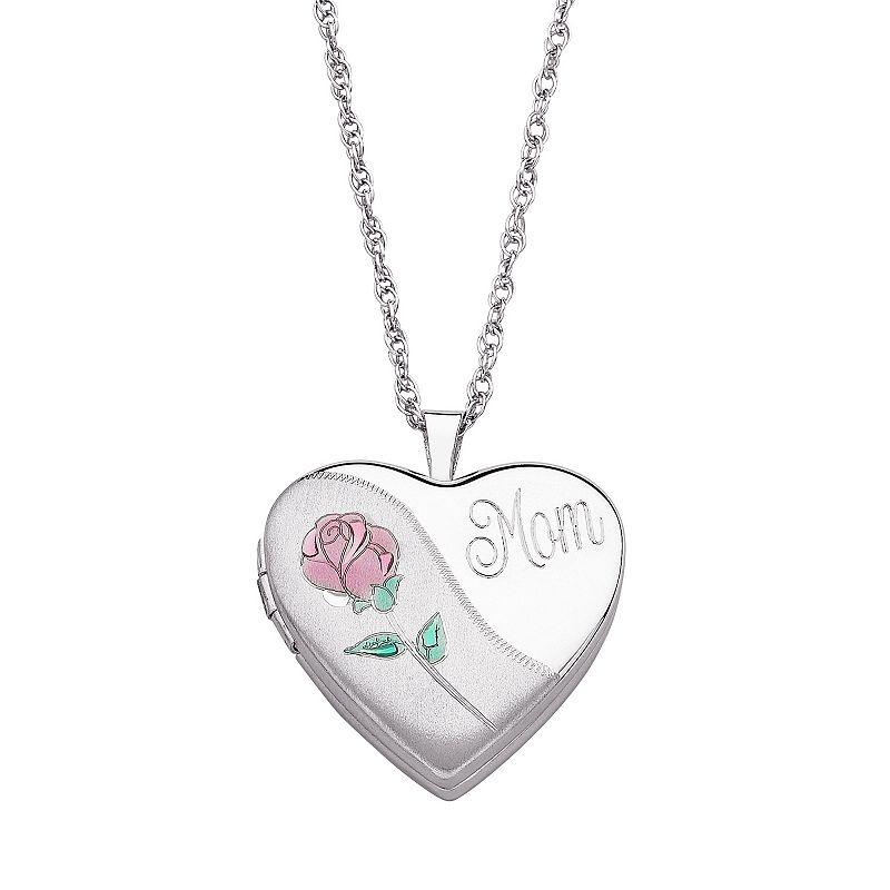Sterling Silver '' Mom'' Heart Locket Necklace