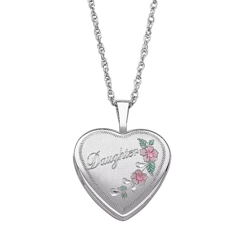 Sterling Silver '' Daughter'' Heart Locket Necklace