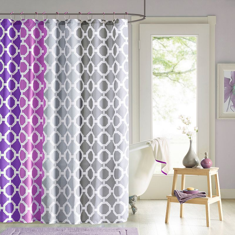 90 by Design Lab Rayna 14-pc. Fabric Shower Curtain and Hook Set
