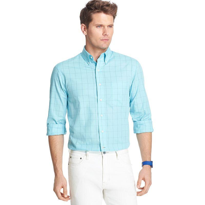 Big & Tall IZOD Classic-Fit Poplin Windowpane Casual Button-Down Shirt