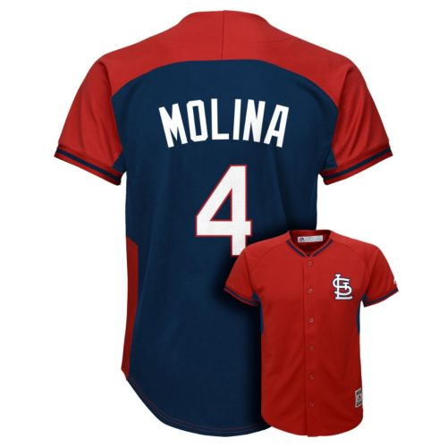 Boys 8-20 Majestic St. Louis Cardinals Yadier Molina Fashion Batting Practice MLB Jersey