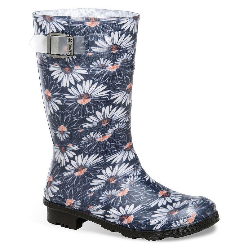 Kamik Daisies Jr. Girls' Floral Rain Boots