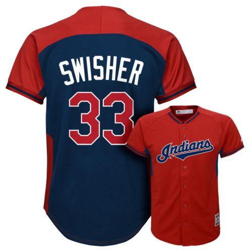 Boys 8-20 Majestic Cleveland Indians Nick Swisher Fashion Batting Practice MLB Jersey
