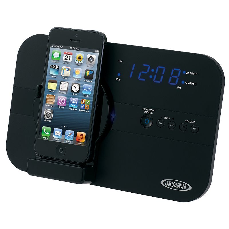 Jensen Alarm Clock Radio with Lightning Charging Dock
